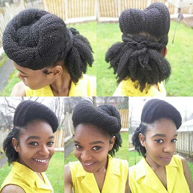 Twisted Updo for Black Women with Natural Hair