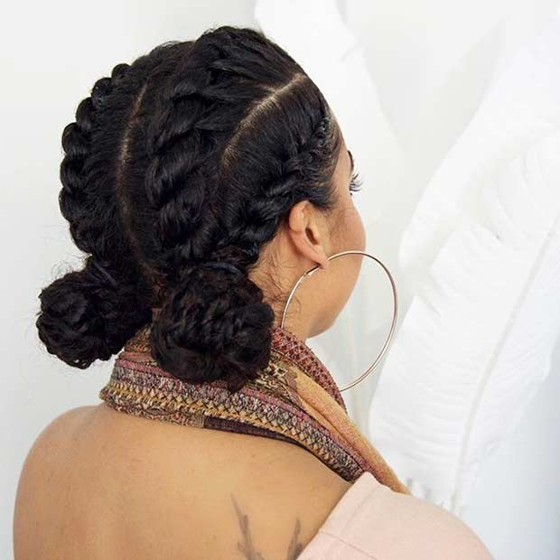 Flat Twists into Buns Updo for Natural Hair