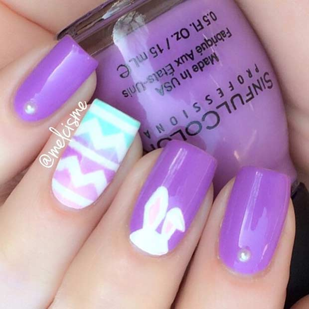Cute Purple Easter Nail Art Design