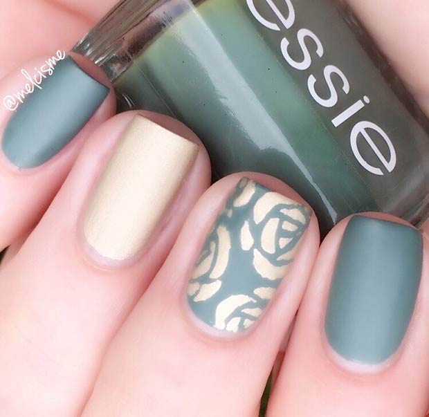 Matte Green and Gold Flower Nail Design for Short Nails