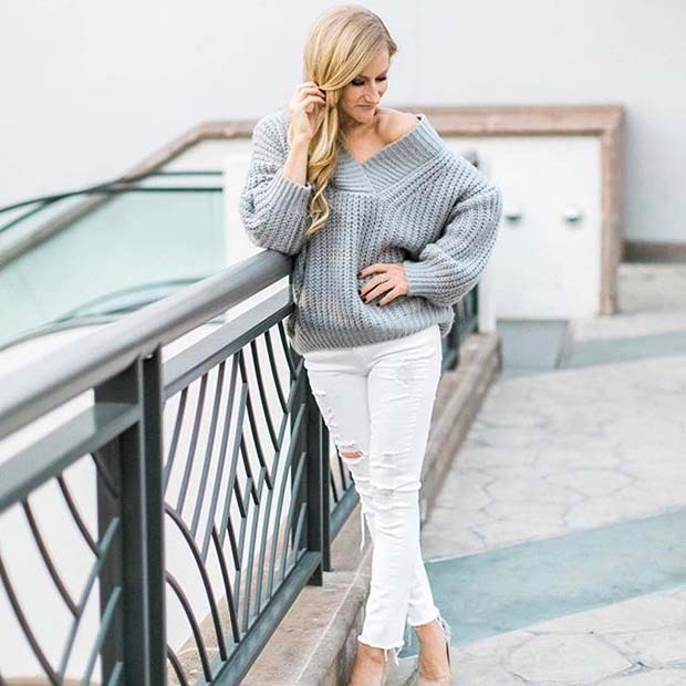 Grey Sweater and White Jeans for Spring 2017 Women's Outfit Idea