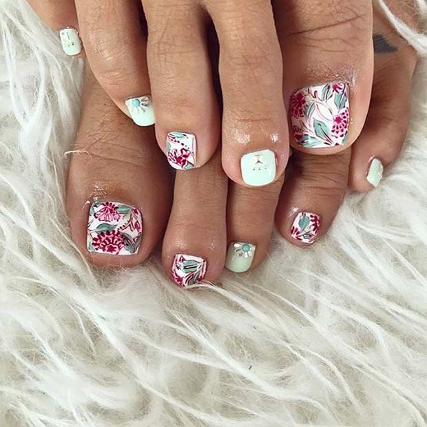 Floral Toe Nail Art Design for Spring