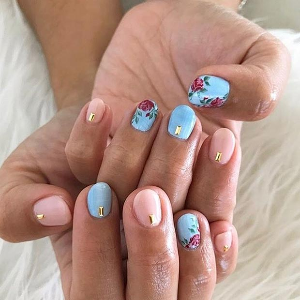 Floral Roses Nail Art Design for Spring