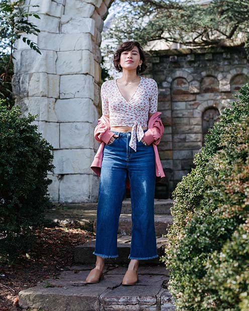 Cropped Jeans for Spring 2017 Women's Outfit Idea