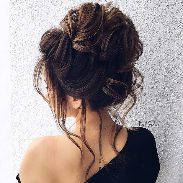 Big Updo with wisps of Hair Idea for Prom