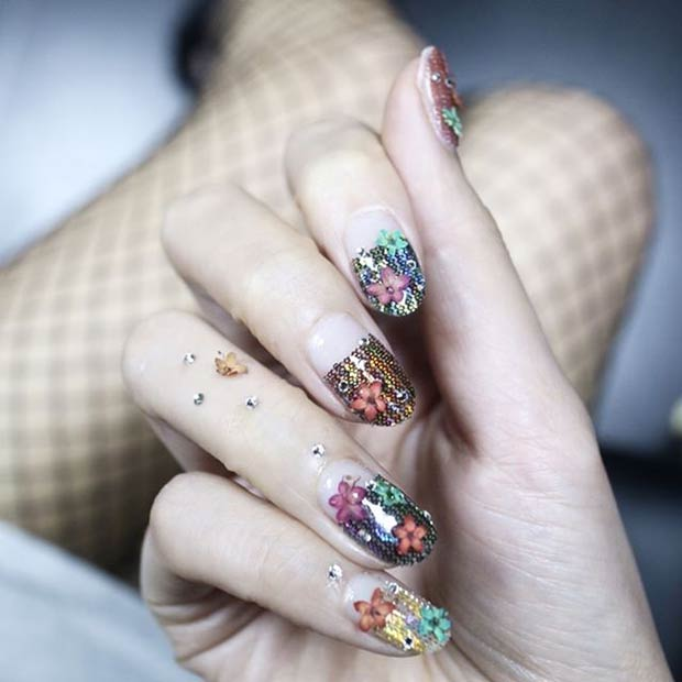 Fishnet Floral Nail Art Design