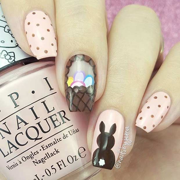 Elegant Easter Nail Art Design for Long Nails