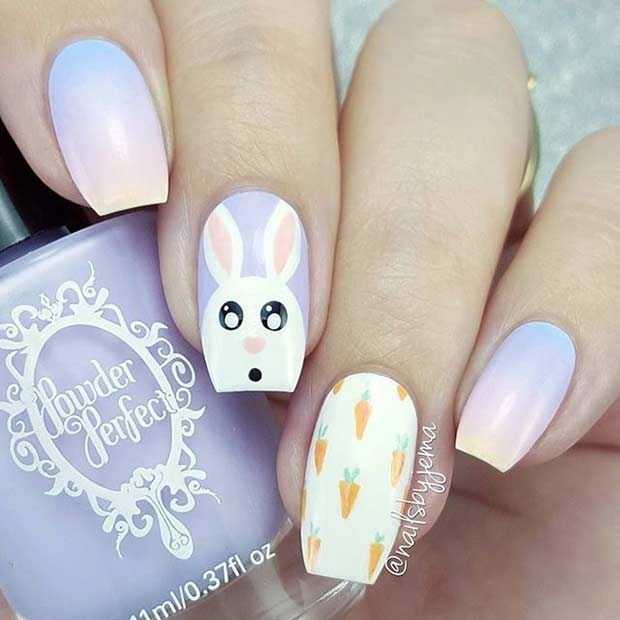 Pastel Ombre Easter Nail Art Design