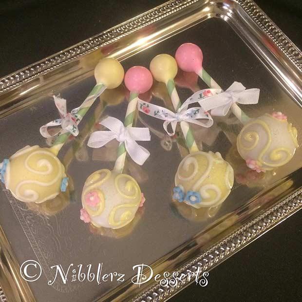 Baby Rattle Cake Pops for Girls Baby Shower