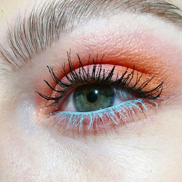 Bold Orange Eye Shadow and Blue Mascara Makeup Idea for Spring