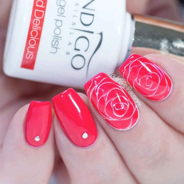 Red and White Rose Nail Design with Crystals for Spring 2017 - 21 Gorgeous Floral Nail Designs For Spring StayGlam