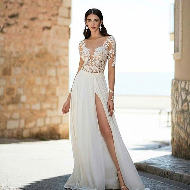 Thigh Split Wedding Dress