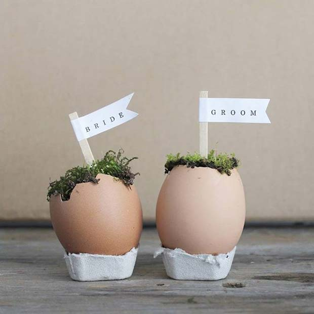 Egg Shell Place Cards for Spring Wedding