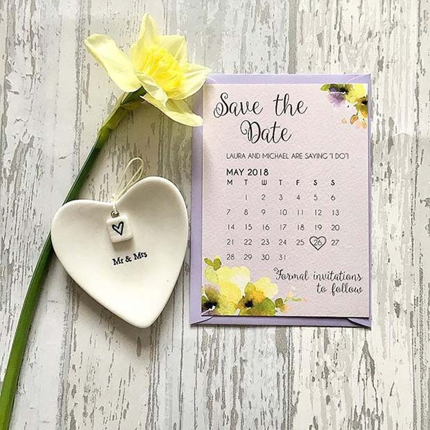 Vibrant Yellow Floral Save the Date Cards for Spring Wedding