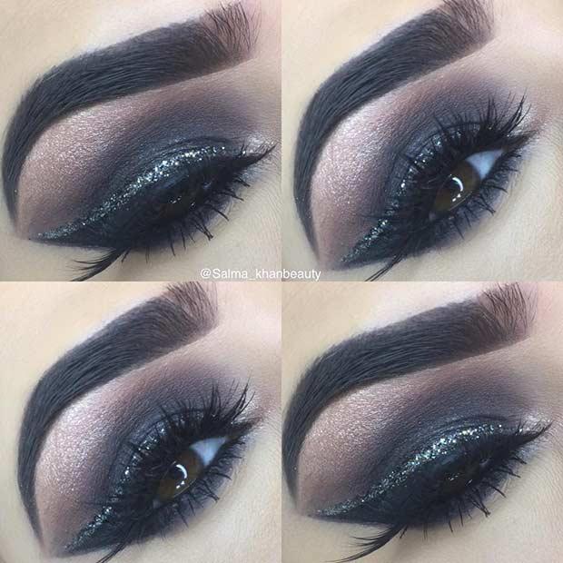 Black Smokey Eye Makeup Idea with a Pop of Glitter