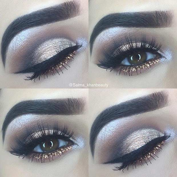 Pretty Gold Glitter Lower Lash Line Look for Brown Eyes