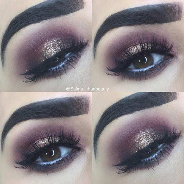 Burgundy and Dark Gold Glitter Smokey Eye for Brown Eyes