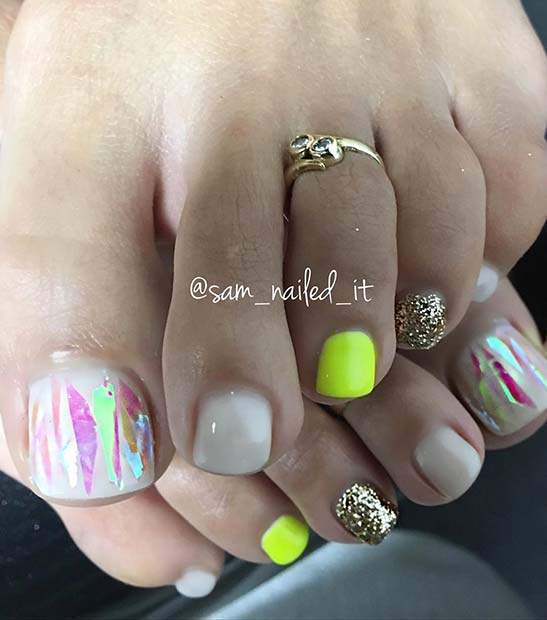 Bright Neon Toe Nail Design for Spring
