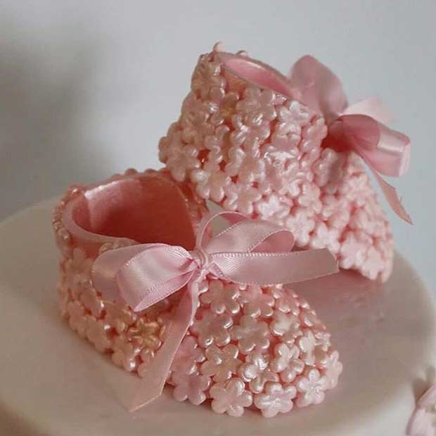 Pink Baby Boots Cake Topper Idea for Girls Baby Shower