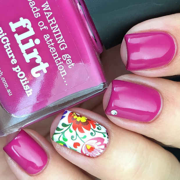 Pink Nails with a Bright Floral Accent Nail and Small Crystal for Spring 2017