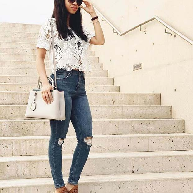 Lace Top Ripped Jeans for Spring 2017 Women's Outfit Idea