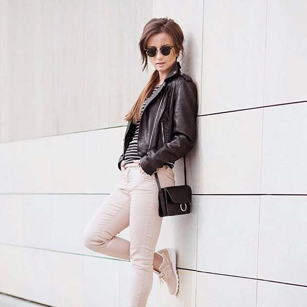 Leather Jacket for Spring 2017 Women's Outfit Idea