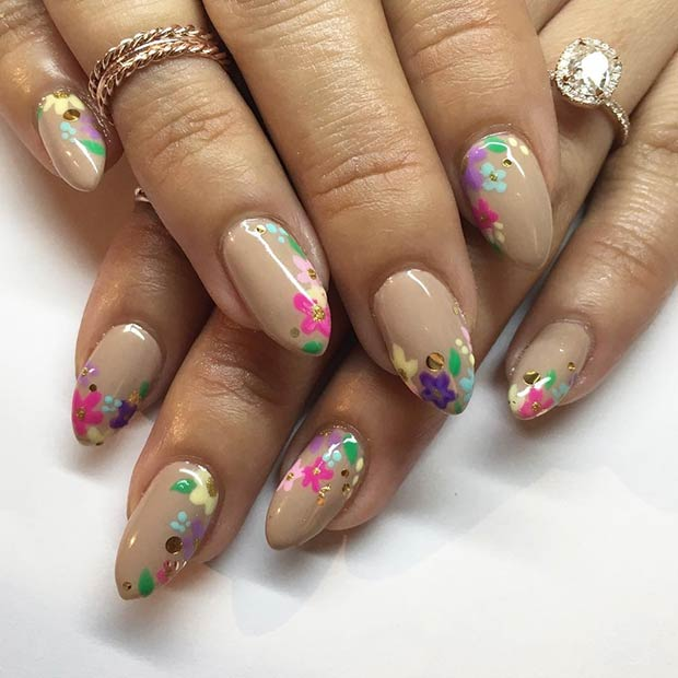 Neutral Nails with Floral Blooms