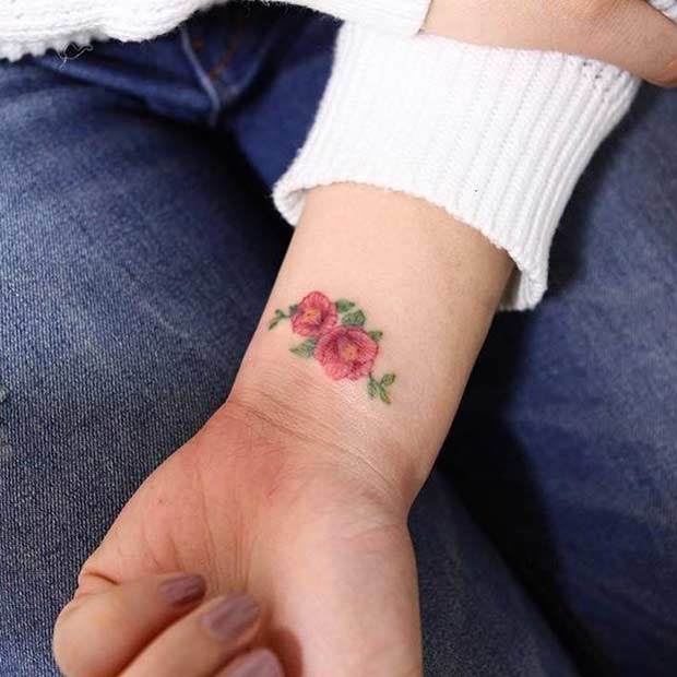 Pink Floral Wrist Tattoo For Women