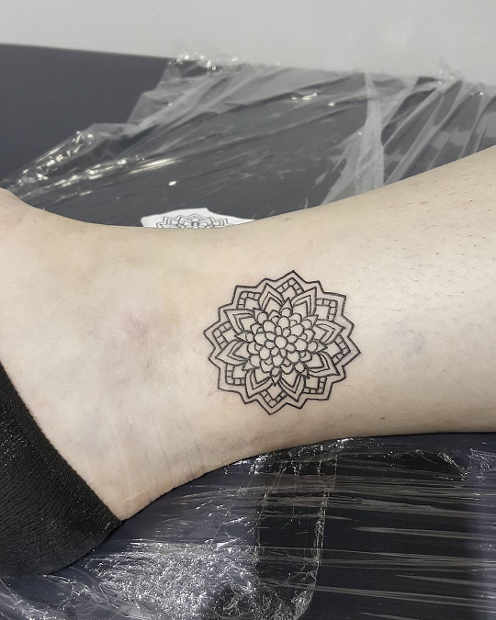 Women's Small Mandala Ankle Tattoo