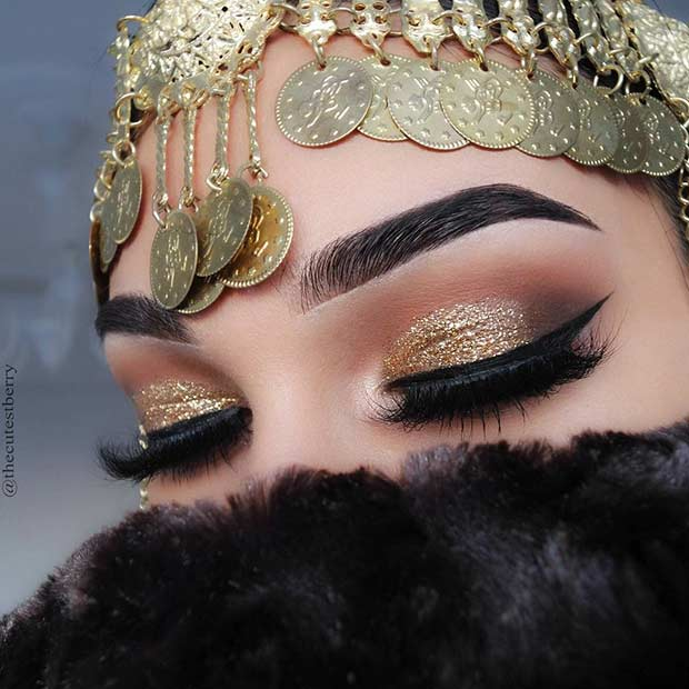 Gold Glitter and Orange Smokey Eye Idea for Brown Eyes