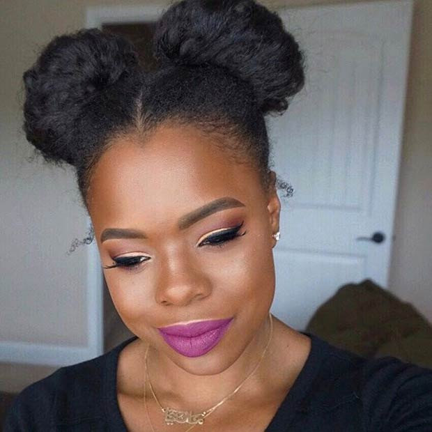 Space Buns Natural Hair Updo