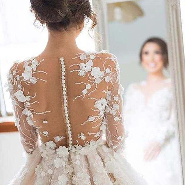 Floral Button Wedding Dress