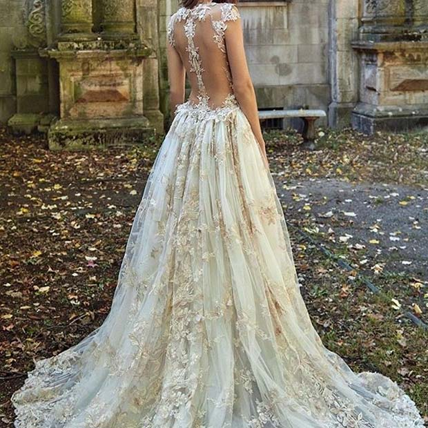 Long Princess Wedding Dress