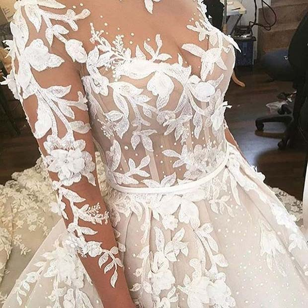 Floral Feature Wedding Dress