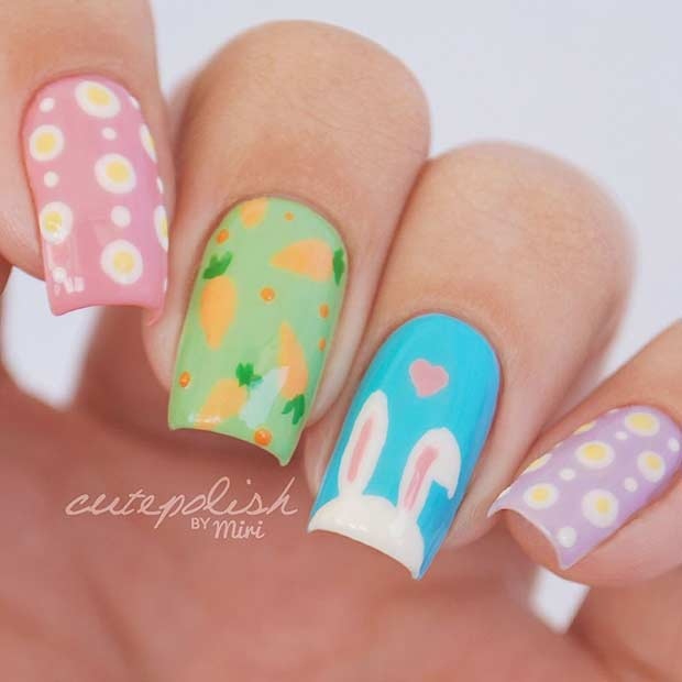 Simple Pastel Easter Nails