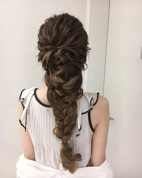 Long Braided Updo For Prom