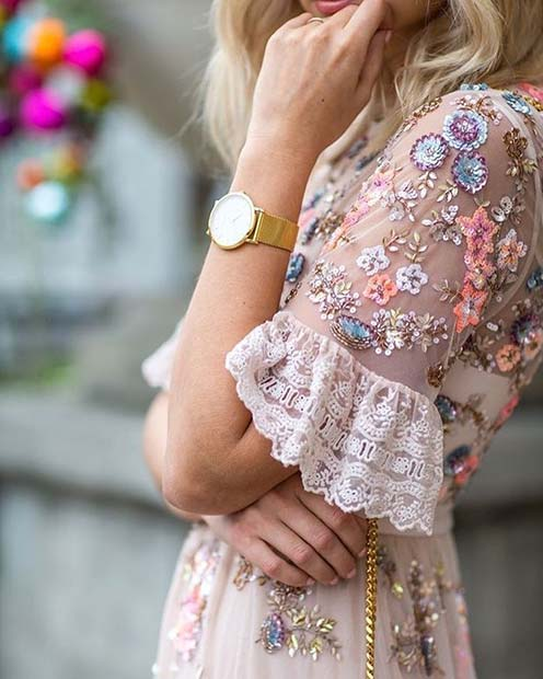 Floral Embellished Dress Outfit Idea for Summer