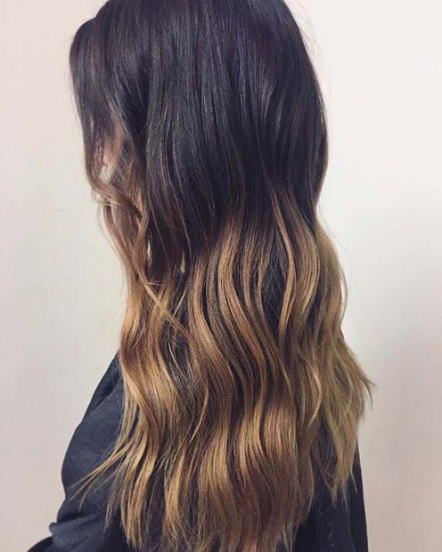 Dark Brunette with Warm Blonde Ombre