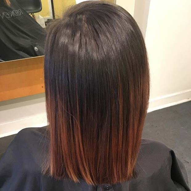 Dark Caramel Short Ombre Hair for Brunettes