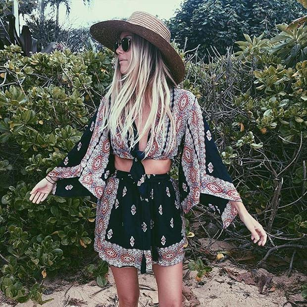 Boho Printed Skirt and Top Outfit Idea