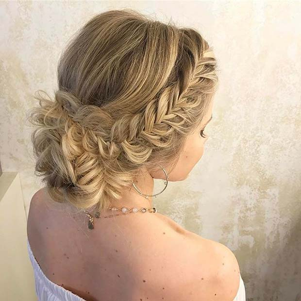 Side Fishtail and Bun Prom Hair Idea