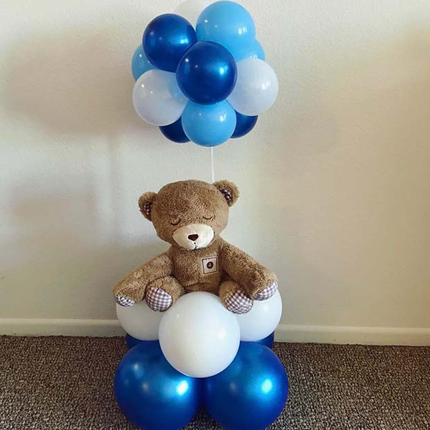 Blue Balloons and Teddy Gift for Boy's Baby Shower