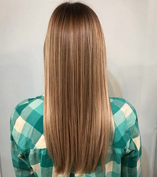 Straight Warm Blonde Balayage and Highlights