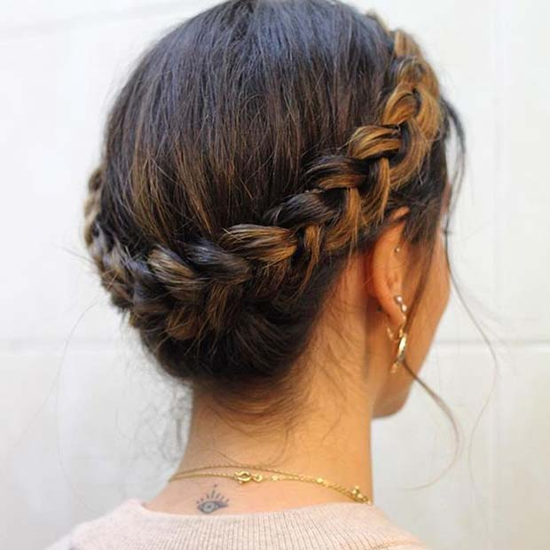Braided Crown for Prom Updo Idea