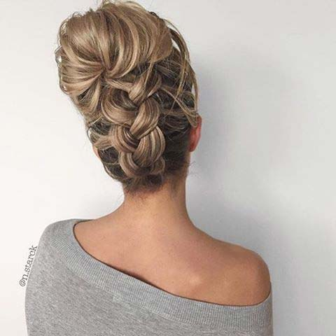 Upside Down Braid Hair Idea for Prom