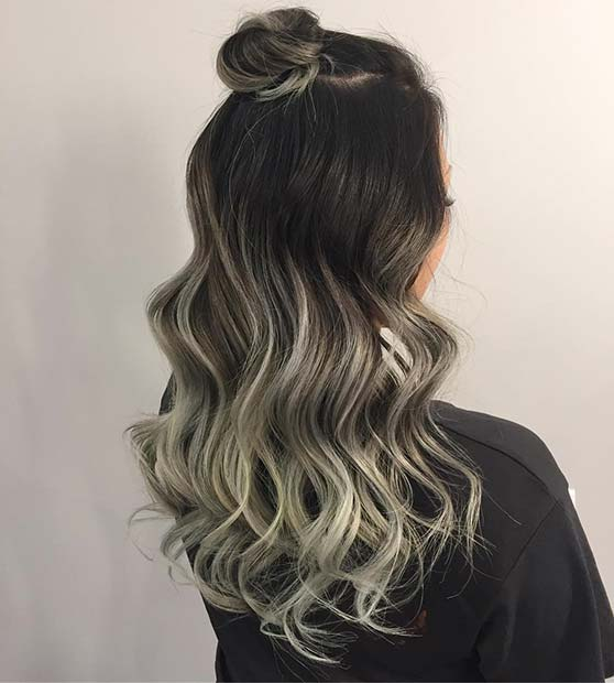 Silvery Blonde Ombre for Brunettes