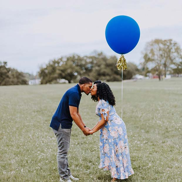Simple Blue Balloon Gender Reveal