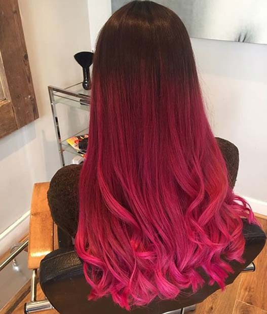 Bright Pink Ombre for Brunett