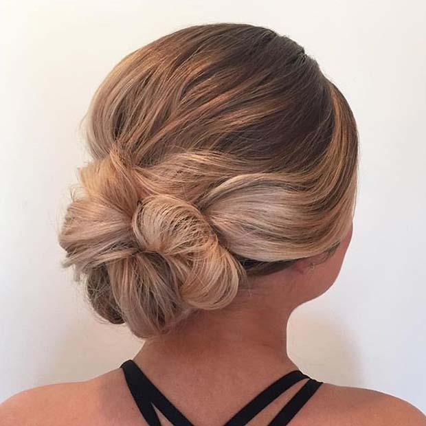 Beautiful Low Bun for Prom Updo Idea