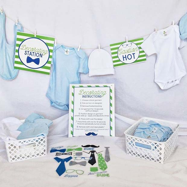 Decorating Station for Baby Clothes for Boy's Baby Shower